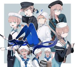 1girl, 1other, 6+boys, apron, baker nemo (fate), bangs, beret, black headwear, black jacket, blue background, blue hair, blue legwear, blunt bangs, braid, brown hair, captain nemo (fate), clipboard, commentary request, engineer nemo (fate), eyebrows behind hair, eyes closed, fate/grand order, fate (series), glasses, gradient hair, green eyes, hat, hat feather, high heels, highres, jacket, long hair, long sleeves, marine nemo (fate), milky-volant, multicolored hair, multiple boys, nemo series (fate), nurse cap, nurse nemo (fate), open mouth, pantyhose, professor nemo (fate), round eyewear, sailor collar, semi-rimless eyewear, shirt, shorts, sleeves past wrists, smile, turban, twintails, two-tone background, uniform, white background, white headwear