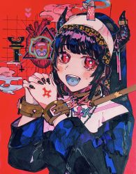 1girl, bangs, black hair, black nails, blue tongue, blush, chains, colored tongue, cross, fangs, hands together, heart (organ), highres, horns, inverted cross, long hair, long sleeves, making-of available, nail polish, open mouth, original, red eyes, smile, solo, sonohara saori, upper body