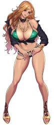 Rule 34 | 1girl, bare shoulders, beautiful, belt, bikini, bikini bottom, bikini top, black shirt, blonde hair, blue eyes, bracelet, breasts, cleavage, collarbone, contrapposto, covered erect nipples, curvy, curvy hips, earrings, elf, eyebrows, eyelashes, eyeshadow, feet, full body, gold, green bikini, green swimsuit, highleg, highleg bikini, highleg bikini bottom, highres, huge breasts, huge cleavage, huge nipples, jewelry, legs, legs apart, light brown hair, lips, lipstick, long hair, long legs, makeup, mascara, nail polish, necklace, off shoulder, original, pink nails, pink toenails, pointy ears, ring, shiny, shiny skin, shirt, short shorts, shorts, shoulders, simple background, skindentation, smile, solo, sparkle, sparkling, sparkling clothes, sparkling jewelry, standing, swimsuit, tatsunami youtoku, thighs, toeless footwear, toenail polish, toes, very long hair, wavy hair, whale tail, white background, yellow footwear