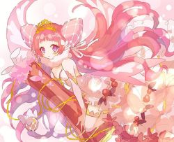 1girl, bangs, blunt bangs, blush, breasts, character request, dress, flower, gold trim, hair ribbon, hibi89, holding, lens flare, long hair, medium breasts, merc storia, off-shoulder dress, off shoulder, pink hair, pink headwear, plunging neckline, purple eyes, ribbon, solo, thighhighs, tiara, twintails, very long hair, white dress, white legwear, white ribbon