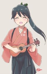 1girl, :d, anchor symbol, black hair, black hakama, black skirt, blush, bow, ebifly, facing viewer, green bow, grey background, hair bow, hakama, holding, holding instrument, houshou (kancolle), instrument, instrument request, japanese clothes, kantai collection, music, open mouth, playing instrument, ponytail, signature, simple background, skirt, smile, solo, suspender skirt, suspenders