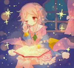 1girl, bangs, bed, blanket, blonde hair, blue bow, blush, book, bow, character request, curtains, dress, eyebrows visible through hair, hair bow, hibi89, holding, holding book, jewelry, merc storia, one eye closed, open book, pajamas, pillow, pink bow, pink dress, reading, red eyes, rubbing eyes, short hair, sitting, solo, sparkle