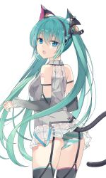 1girl, :o, absurdres, animal ears, aqua hair, ass, bangs, bare shoulders, black legwear, black sleeves, blue eyes, cat ears, cat tail, collared shirt, commentary request, detached sleeves, eyebrows visible through hair, fake animal ears, fake tail, grey shirt, hair between eyes, hatsune miku, highres, jyt, long hair, long sleeves, looking at viewer, looking back, open mouth, panties, see-through, shirt, simple background, sleeveless, sleeveless shirt, striped, striped panties, tail, thighhighs, twintails, underwear, very long hair, vocaloid, white background