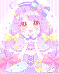 1girl, :d, ahoge, bangs, beret, blush, bow, brown eyes, clothing cutout, commentary request, cure coral, dress, eyebrows visible through hair, fingerless gloves, gloves, hair bow, hands up, hat, heart, heart cutout, highres, himetsuki luna, long hair, open mouth, parted bangs, pink bow, precure, purple capelet, purple dress, purple hair, signature, smile, solo, striped, striped background, striped bow, suzumura sango, tropical-rouge! precure, twitter username, upper body, vertical stripes, very long hair, white gloves, white headwear, yellow bow