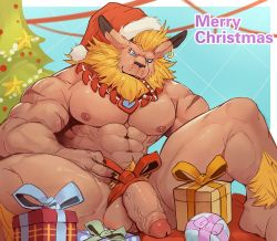 Rule 34 | 1boy, abs, animal ears, bara, beard, blonde hair, blue eyes, bow, bowtie, box, brown fur, christmas, digimon, digimon (creature), earrings, facial hair, feet out of frame, flaccid, furry, gift, gift box, hat, jewelry, large pectorals, lei mengde, leomon, lion boy, lion ears, male focus, male pubic hair, merry christmas, muscular, muscular male, navel, nipples, nude, penis, pubic hair, santa hat, short hair, smile, solo, stomach, thick thighs, thighs, uncensored, veins, veiny penis