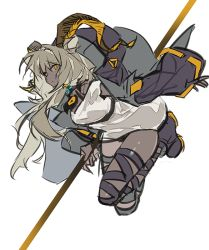 1girl, animal ears, arknights, beeswax (arknights), black collar, black footwear, black jacket, boots, collar, dark-skinned female, dark skin, dress, floating, full body, goat ears, goat girl, goat horns, grey hair, holding, holding staff, horns, infection monitor (arknights), jacket, long hair, looking at viewer, open clothes, open jacket, qiqu, sketch, solo, staff, thigh strap, white background, white dress, yellow eyes