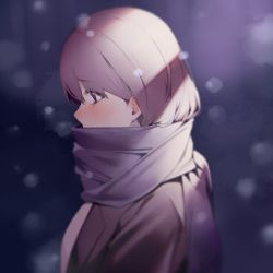 1girl, bangs, black eyes, blurry, blurry background, blush, breath, brown jacket, check copyright, cold, copyright request, depth of field, eyebrows visible through hair, from side, highres, jacket, kuen (kuennn12), original, outdoors, pink scarf, profile, purple hair, scarf, shirt, short hair, solo, tears, upper body, white shirt