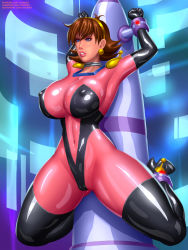 Rule 34   1girl, ankle cuffs, ankles bound, arms above head, arms up, bdsm, black gloves, black high heels, black legwear, black thigh boots, black thigh highs, blue eyes, bodysuit, bondage, boots, bound, bound ankles, bound arms, bound wrists, bounded, bounded ankles, bounded wrists, breasts, brown hair, bursting, bursting breasts, bursting cleavage, cameltoe, captured, choker, cleavage, cleft of venus, clenched teeth, collar, collarbone, covered crotch, covered navel, cuffs, deviantart username, earrings, ears, eyebrows, eyebrows visible through hair, eyelashes, eyeliner, eyeshadow, feet up, female focus, full body, g gundam, gloves, gumroad username, gundam, hairband, helpless, high heel boots, high heels, highleg legwear, highres, hourglass, huge breasts, huge cleavage, huge ears, huge hips, huge legs, huge lips, huge nipples, impossible bodysuit, impossible clothes, indoors, jewelry, latex, latex bodysuit, latex boots, latex gloves, latex legwear, latex suit, lips, lipstick, looking to the side, makeup, mascara, mobile trace suit, multicolored, multicolored bodysuit, multicolored clothes, narrow hips, narrow waist, navel, nipples, nipples visible through clothing, patreon username, pink lips, puffy nipples, pussy, rain mikamura, raised eyebrows, restrained, revealing bodysuit, shiny, shiny bodysuit, shiny clothes, shiny eyes, shiny face, shiny footwear, shiny hair, shiny legwear, shiny lips, shiny lipstick, shiny skin, shocked expression, shocked face, short hair, silver choker, silver collar, skin tight, skin tight clothing, skin tight suit, slender, slender body, slender waist, solo, spread legs, stretch, stretched arms, stretched legs, stud earrings, submission, submissive female, svoidist, teeth, thick lips, thick thighs, thighhighs, thighs, tight, waist, watermark, web address, wrist cuffs, yellow hairband