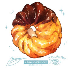 angel french, artist name, chocolate doughnut, commentary request, doughnut, food, food focus, french cruller, hashtag, heart, highres, momiji mao, no humans, notice lines, original, signature, simple background, sparkle, still life, translation request, white background