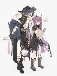 1boy, 1girl, arknights, blue hair, boots, chinese clothes, coat, demon girl, demon horns, glasses, hat, highres, horns, looking at another, mr. nothing (arknights), multicolored hair, pants, purgatory (arknights), purple hair, short hair, skirt, thurim6, torn clothes, torn skirt