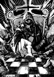 1other, absurdres, arknights, aura, chess piece, chessboard, coat, cross, dark aura, doctor (arknights), facing viewer, greyscale, highres, kuba, mask, monochrome, pawn (chess), sitting, solo, throne