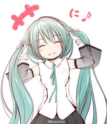 +++, 1girl, ^ ^, bangs, bare shoulders, black skirt, blush, bunching hair, closed eyes, collared shirt, commentary, eighth note, eyebrows visible through hair, eyes closed, facing viewer, green hair, green ribbon, grin, hair between eyes, haryuu (poetto), hatsune miku, hatsune miku (nt), highres, long hair, long sleeves, musical note, neck ribbon, piapro, pleated skirt, ribbon, see-through, see-through sleeves, shirt, simple background, skirt, sleeveless, sleeveless shirt, smile, solo, twintails, twitter username, very long hair, vocaloid, white background, white shirt, white sleeves, wide sleeves