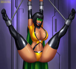 Rule 34 | 1girl, arms up, artist name, ball gag, bdsm, black ball gag, black footwear, black hair, black high heels, black thigh boots, bondage, boots, bound, bound ankles, bound wrists, bounded, bounded ankles, bounded wrists, breasts, cameltoe, cape, captured, cleavage, cleft of venus, dc, dc comics, deviantart username, elbow gloves, eyewear, freedom fighters, gag, gagged, gloves, goggles, goggles on eyes, green-tinted eyewear, green-tinted glasses, green cape, green eyewear, green goggles, gumroad username, helpless, high heel boots, high heels, highres, huge breasts, huge cleavage, huge nipples, latex boots, legs apart, legs up, long boots, long hair, makeup, nipples, patreon username, phantom lady, phantom lady (dc), restrained, shiny, shiny clothes, shiny face, shiny hair, shiny skin, shocked expression, shocked face, signature, spread legs, superhero, suspension, svoidist, thigh boots, thighhighs, tinted eyewear, tinted glasses, trapped, very long boots, visor, watermark, web address