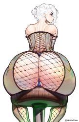 Rule 34 | 1girl, ass, ass focus, commission, dress, fishnet, fishnet legwear, fishnets, from behind, huge ass, nero (neroartbox), original, partially visible vulva, scar, scar across eye, solo, thong, white hair