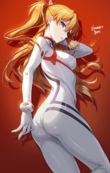 1girl, absurdres, ass, blonde hair, bodysuit, breasts, cowboy shot, evangelion: 3.0+1.0 thrice upon a time, eyebrows visible through hair, eyepatch, from side, gomashio ponz, hair between eyes, highres, long hair, looking at viewer, medium breasts, neon genesis evangelion, parted lips, plugsuit, ponytail, purple eyes, rebuild of evangelion, red background, solo, soryu asuka langley, twitter username, white bodysuit