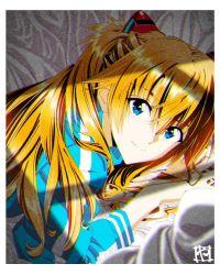 1girl, blue eyes, brown hair, highres, interface headset, jacket, long hair, looking at viewer, neon genesis evangelion, on bed, soryu asuka langley, twintails, yamayoshi
