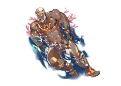 Rule 34 | 1boy, abs, aegir (tokyo houkago summoners), anchor earrings, aqua hair, bara, bare pecs, barefoot, beard, blue eyes, crown, crrispy shark, dark skin, dark skinned male, earrings, facial hair, fins, from above, full body, highres, jewelry, large pectorals, lying, male focus, mature male, multicolored hair, muscular, muscular male, navel, navel hair, nipples, nude, on back, penis, short hair, single earring, smile, solo, stomach, streaked hair, thick thighs, thighs, tokyo houkago summoners, uncensored, wet, white hair