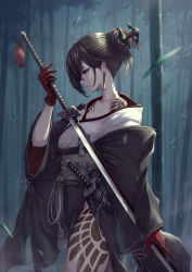 1girl, absurdres, akeha (nier reincarnation), bamboo, bamboo forest, brown eyes, brown hair, claws, commentary, cowboy shot, earrings, forest, from side, gloves, hair bun, hair ornament, hair over one eye, highres, holding, holding sword, holding weapon, huge filesize, japanese clothes, jewelry, kimono, leaf, leg tattoo, looking away, looking down, mole, mole under eye, nature, nier (series), nier reincarnation, obi, ootachi, parted lips, profile, red gloves, sash, scabbard, sheath, sheathed, shoulder tattoo, side slit, solo, sword, tassel, tattoo, wakizashi, weapon, wide sleeves, yasu (segawahiroyasu)