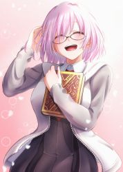 1girl, bangs, black dress, blush, book, book hug, commentary request, dress, eyebrows visible through hair, fate/grand order, fate (series), glasses, hand to head, highres, holding, holding book, jacket, mash kyrielight, mitsuria (kanesho1102), necktie, open mouth, pink hair, purple hair, round eyewear, short hair, solo