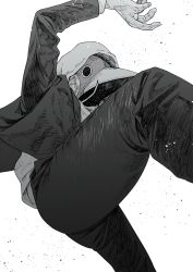 1boy, arm up, chainsaw man, formal, greyscale, hatching (texture), highres, hood, hood up, hoodie, male focus, mask, monochrome, otsudou, solo, suit, violence devil (chainsaw man), white background