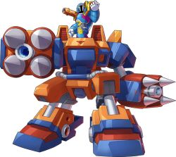 1boy, android, armor, boss, breastplate, cannon, covered face, ground vehicle, helmet, male focus, mecha, mizuno keisuke, motor vehicle, official art, ride armor, robot, mega man (series), mega man x (series), mega man x3, rockman x dive, science fiction, shoulder armor, shoulder cannon, shoulder pads, spikes, transparent background, vile (mega man), walker