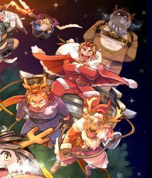 1girl, 6+boys, animal ears, antlers, arsalan (tokyo houkago summoners), beard, blush, breath, character request, christmas, claude (tokyo houkago summoners), deer boy, deer ears, facial hair, fake horns, feathered wings, floating, flying, full body, goat boy, goat ears, highres, horns, laurel crown, lion boy, long sideburns, master 2 (tokyo houkago summoners), multiple boys, nomad (tokyo houkago summoners), reindeer antlers, reindeer boy, santa costume, scarf, smile, snow, snow (tokyo houkago summoners), sumi wo hakuneko, tiger boy, tiger ears, tokyo houkago summoners, wings, zabaniya (tokyo houkago summoners)