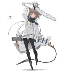 1girl, arm up, armored boots, bangs, black footwear, black legwear, boots, brown hair, chainsaw, commentary request, eyebrows visible through hair, full body, hair between eyes, headgear, highres, holding, jacket, knee boots, long sleeves, open mouth, original, pantyhose, poco (asahi age), purple eyes, shadow, sleeves past wrists, solo, white background, white jacket, wide sleeves