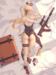 1girl, absurdres, ass, assault rifle, back, bag, bare legs, bare shoulders, black dress, black footwear, black panties, black ribbon, blonde hair, cuffs, dress, eyebrows visible through hair, fur, girls frontline, gun, hair ribbon, handcuffs, high heels, highres, lips, long hair, looking back, lying, on stomach, ots-14, ots-14 (girls frontline), panties, ribbon, rifle, shoes, shoes removed, simple background, single shoe, smile, soles, solo, un lim, underwear, weapon, yellow eyes