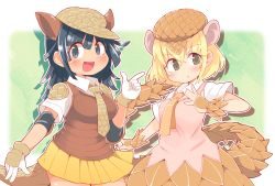 2girls, :d, :o, armadillo ears, armadillo tail, bangs, blonde hair, blue background, blue eyes, blue hair, blush, breasts, brown eyes, brown headwear, brown vest, commentary request, contrapposto, cowboy shot, crossed bangs, drop shadow, dutch angle, extra ears, eyebrows visible through hair, giant armadillo (kemono friends), giant pangolin (kemono friends), gloves, hair between eyes, hand up, hat, highres, index finger raised, ini (inunabe00), kemono friends, long hair, looking at viewer, medium breasts, multiple girls, necktie, open mouth, orange skirt, outline, pangolin ears, pangolin tail, parted lips, pink vest, pleated skirt, shirt, short sleeves, simple background, skirt, smile, standing, vambraces, vest, white background, white gloves, white outline, white shirt, yellow neckwear, yellow skirt