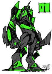 evangelion: 3.0+1.0 thrice upon a time, imaishi hiroyuki, khara, knife, mecha, neon genesis evangelion, no humans, official art, progressive knife, rebuild of evangelion, signature, solo, standing, weapon