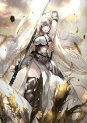 1girl, armor, armored dress, bangs, blonde hair, blue eyes, boots, breasts, cross, fate/grand order, fate (series), faulds, gauntlets, headgear, highres, holding, jeanne d'arc (fate), jeanne d'arc (fate) (all), knee boots, large breasts, long hair, looking at viewer, parted lips, solo, sword, thighhighs, vardan, veil, very long hair, weapon