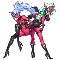 10s, 2girls, aozoraichi, blue hair, bracelet, breasts, collar, colored skin, demon girl, eyebrows, eyebrows visible through hair, fang, full body, glasses, green eyes, green hair, highres, horns, jewelry, kneesocks (psg), long hair, monster girl, multiple girls, panty & stocking with garterbelt, pointy ears, ponytail, red skin, scanty (psg), shiny, shiny clothes, single horn, spiked bracelet, spiked collar, spikes, stilettos, thighhighs, wings, yellow eyes