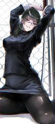 bangs, black legwear, fence, glasses, green hair, highres, hitohachan, jujutsu kaisen, katana, looking at viewer, ponytail, pose, sword, uniform, weapon, zenin maki