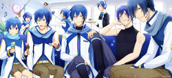 1girl, 6+boys, apron, artist name, beamed eighth notes, belt, black shirt, blue eyes, blue hair, blue pants, blue scarf, boots, brown pants, brown shorts, child, clock, coat, commentary, couch, eighth note, fishing rod, food, hand on another's knee, headphones, headset, holding, holding food, holding tray, ice cream, ice cream cone, ice cream cup, indoors, kaiko, kaito, kaito (vocaloid3), knee boots, knee up, looking at viewer, maid, maid apron, maid headdress, male focus, microphone, multiple boys, multiple persona, musical note, nokuhashi, pants, pointing, pointing at viewer, raglan sleeves, scarf, shirt, short hair, shorts, sitting, sleeveless, sleeveless shirt, sparkle, sundae, tray, treble clef, vocaloid, wafer stick, white coat, window, younger