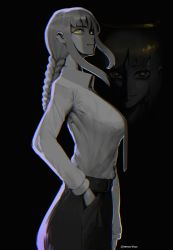 1girl, braid, braided ponytail, business suit, chainsaw man, chromatic aberration, formal, highres, long hair, long sleeves, looking at viewer, makima (chainsaw man), necktie, nero (neroartbox), office lady, ringed eyes, shirt, shirt tucked in, smile, suit, twitter username, white shirt, yellow eyes