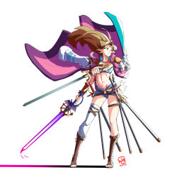 1girl, alternate costume, armor, automatic giraffe, boots, bracelet, breasts, brown hair, cape, commentary, crop top, cutoffs, dual wielding, earrings, english commentary, full body, glowing, glowing sword, glowing weapon, hand on hilt, holding, holding sword, holding weapon, jewelry, knee boots, long hair, multiple swords, nintendo, pauldrons, pearl bracelet, pointy ears, princess zelda, rapier, red eyes, scabbard, sheath, sheathed, shorts, shoulder armor, single thighhigh, small breasts, solo, sword, the legend of zelda, the legend of zelda: a link between worlds, thighhighs, toeless footwear, triangle earrings, triforce, vambraces, weapon, window