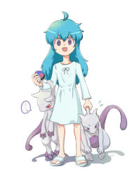 ..., 1girl, ambertwo (pokemon), creatures (company), dress, game freak, great ball, green eyes, holding, holding poke ball, holding pokemon, long hair, long sleeves, looking at viewer, mega mewtwo x, mega mewtwo y, mega pokemon, mewtwo, nintendo, open mouth, poke ball, pokemon, pokemon (anime), pokemon (creature), purple eyes, sandals, shadow, shiny, shiny hair, spoken ellipsis, standing, sweat, white background, white dress, white footwear