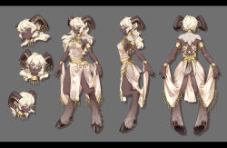 1girl, absurdres, animal ears, armlet, arms at sides, backless outfit, blonde hair, bracelet, breasts, character sheet, choker, dark skin, dark skinned female, digitigrade, expressions, from behind, from side, full body, fur, goat ears, goat girl, goat horns, goat tail, gold, grey background, highres, hooves, horn ornament, horns, jewelry, letterboxed, long hair, looking at viewer, medium breasts, mono-san no tonkatsu, monster girl, original, tassel, tattoo, yellow eyes