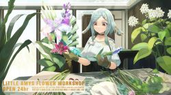 1girl, animal ears, bangs, black choker, black skirt, blue flower, braid, braided bangs, breasts, brown eyes, brown gloves, choker, closed mouth, commentary request, english text, eyebrows behind hair, florist, flower, flower request, gloves, grey hair, hair ornament, hairclip, highres, holding, holding flower, indoors, long hair, medium breasts, natori youkai, original, parted bangs, pink flower, pink rose, pleated skirt, puffy short sleeves, puffy sleeves, purple flower, red flower, rose, shirt, short sleeves, skirt, solo, white flower, white shirt, window