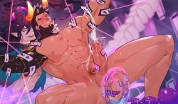 Rule 34   2boys, abs, anal, anal object insertion, bara, beard, black hair, blush, character request, chinese zodiac, completely nude, cow horns, cum, darius (league of legends), ejaculation, erection, evil smile, facial hair, fangs, foot out of frame, highres, horns, large pectorals, league of legends, long hair, lunar beast darius, male focus, male pubic hair, mature male, multiple boys, muscular, muscular male, navel, nipples, nude, object insertion, official alternate costume, penis, projectile cum, pubic hair, rereezhang, short hair, smile, spread legs, stomach, thick thighs, thighs, uncensored, yaoi, year of the ox