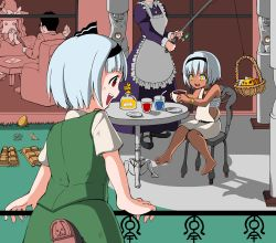 (9), 2boys, 3girls, ^^^, alice margatroid, apron, asatsuki (cookie), bangs, barefoot, basket, bee, belt, black belt, black footwear, black hair, black hairband, black ribbon, blouse, blunt bangs, bois de justice, bow, brown footwear, bug, chair, clock, collared blouse, column, commentary request, cookie (touhou), cowboy shot, creature, cup, dies irae, dress, easter egg, egg, eska (cookie), eyebrows visible through hair, fence, fishing rod, food, frilled apron, frills, fruit, fuckin animal, full body, genpatsu (cookie), grass, green skirt, green vest, hair between eyes, hair ribbon, hairband, hat, hat bow, hazuna rio, head out of frame, highres, hinase (cookie), holding, holding cup, holding fishing rod, holding paper, honey, insect, izayoi sakuya, jacket, jyu (cookie), kirisame marisa, konpaku youmu, leg up, long hair, looking at another, maid, manatsu no yo no inmu, middle finger, miura meat, multiple boys, multiple girls, nazrin, nyon (cookie), open mouth, outdoors, own hands together, paper, pillar, plate, purple dress, red eyes, ribbon, sarashi, shinza bansho series, shoes, short hair, sitting, skirt, sleeveless, sleeveless dress, snail, table, teacup, touhou, tsuno (nicoseiga11206720), upper teeth, very short hair, vest, white apron, white blouse, white dress, white hair, witch hat