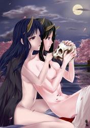 Rule 34 | 2girls, highres, japanese clothes, miko, multiple girls, nude, oni, original, yuri