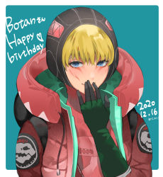 1girl, alternate color, apex legends, blue eyes, blush, covering mouth, dated, eyeshadow, gloves, green gloves, hand over own mouth, happy birthday, heart, highres, hood, hood up, jacket, looking at viewer, makeup, meriko (meri com25), red eyeshadow, red jacket, red sweater, ribbed sweater, smile, solo, sweater, upper body, wattson (apex legends)
