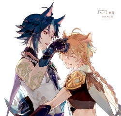 2boys, aether (genshin impact), ahoge, animal ears, aqua hair, arm tattoo, bangs, bead necklace, beads, black gloves, black hair, blonde hair, braid, cape, cat day, cat ears, dated, facial mark, forehead mark, genshin impact, gloves, grin, hair between eyes, highres, jewelry, male focus, mask, multicolored hair, multiple boys, necklace, one eye closed, open mouth, rokuon, short sleeves, simple background, single braid, single earring, sleeveless, smile, tassel, tattoo, twitter username, upper body, white background, xiao (genshin impact), yaoi, yellow eyes