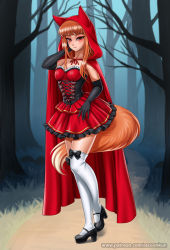 1girl, alternate costume, animal ears, bangs, black footwear, black gloves, blunt bangs, blush, breasts, brown hair, closed mouth, collarbone, elbow gloves, eyebrows visible through hair, fox ears, fox girl, fox tail, gloves, high heels, highres, holo, long hair, looking at viewer, medium breasts, over-kneehighs, racoon-kun, red eyes, smile, solo, spice and wolf, tail, thighhighs, wet, white legwear