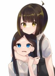 2girls, arm around shoulder, bangs, black hair, black skirt, blue eyes, blunt bangs, collared shirt, commentary, dated, dress shirt, dual persona, ena, ena (series), english commentary, expressionless, head rest, highres, humanization, long hair, looking at another, looking at viewer, looking up, multiple girls, parted bangs, shirt, short sleeves, signature, simple background, skirt, suspenders, upper body, usagimarumei, wavy mouth, white background, white shirt, wing collar, yellow eyes