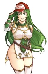 1girl, absurdres, armor, breasts, elbow gloves, erinys (fire emblem), fingerless gloves, fire emblem, fire emblem: genealogy of the holy war, gloves, green eyes, green hair, hat, highres, long hair, looking at viewer, medium breasts, nintendo, no panties, pelvic curtain, simple background, smile, solo, tridisart, white background