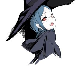 1girl, abstract, bad id, bad pixiv id, blue hair, cropped torso, eyebrows, from side, glasses, hat, hood, hood down, little witch academia, long hair, looking at viewer, open mouth, pocari sweat (artist), red eyes, rimless eyewear, robe, sideways glance, simple background, smile, solo, upper body, ursula charistes, white background, witch, witch hat