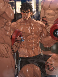 Rule 34 | 3boys, abs, bara, biceps, black hair, black shorts, blush, bukkake, cum, cum on body, cum on pectorals, dark skin, dark skinned male, dumbbell, erection, erection under clothes, facial, facial hair, foreskin, group sex, gym, highres, indoors, large pectorals, long sideburns, male focus, mature male, mmm threesome, multiple boys, muscular, muscular male, navel, navel hair, nikism, nipples, original, pectorals, penis, reward available, shirtless, short hair, shorts, sitting, smile, solo focus, stomach, stubble, sweat, thick thighs, thighs, threesome, tongue, tongue out, veins, weightlifting, yaoi