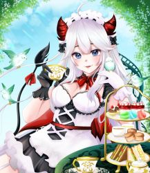 1girl, bangs, bird, bird on hand, black gloves, blue eyes, breasts, cleavage, cup, eyebrows visible through hat, fangs, food, gloves, indie virtual youtuber, macaron, matoko (matoko820), medium breasts, mismatched gloves, open mouth, pointy ears, sandwich, sitting, smile, solo, teacup, teapot, vei (vtuber), virtual youtuber, white gloves, white hair